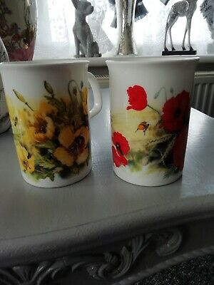 Set X 2 Collectable Mugs By Roy Kirkham 1991 Red Poppy And Yellow Poppy • 5£