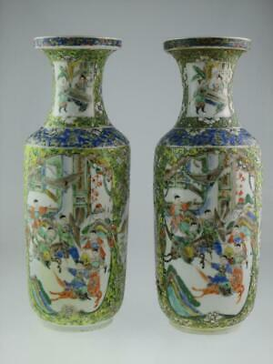 Large Antique 19th Century Chinese Baluster Porcelain Warriors Vases Circa 1850 • 11£