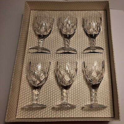 Set Two Of 6 Vintage Stuart Lead Crystal Cut Glass Sherry/Port/Gin Glasses Boxed • 15£