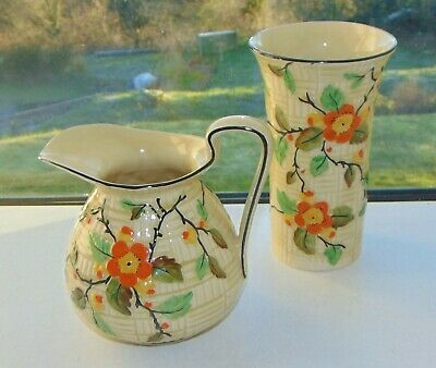 Phoenix Pottery England Blossom Pattern 1 Pint Jug And Vase Hand Painted C1930s • 12£