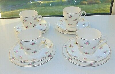 Mismatched Bristol And Pountney 4 Cups Saucers Plates Trios Pink Rosebuds 1950s • 12£