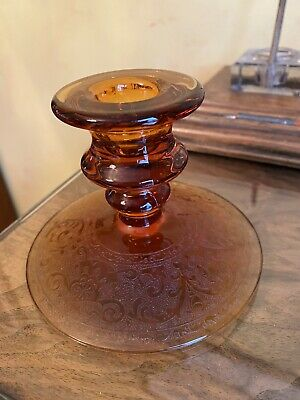 Vintage Amber Glass Candle Stick 4 Inches Tall Base 4.5 Inches  • 5£