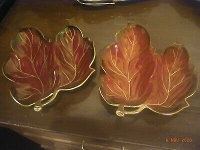 Carlton Ware 'Rouge Royal' - Two Double Leaf Shaped Bonbon(?) Dishes • 5£