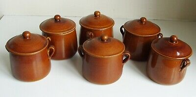 6 Vintage Brown Pottery Small Casserole Pot & Soup Pot Country Kitchen • 16.99£