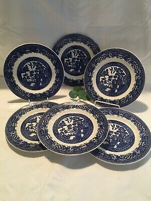 "Antique Swinnertons ""Old Willow"" Side Plates X 6 - Vintage Blue & White Pattern • 2.75£"