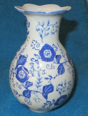 Delft Style Small Blue Flowered Vase  • 6.99£