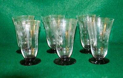 6 X Antique Art Deco Glasses Etched With Fuchsia Flowers Black Glass Bases  • 10£