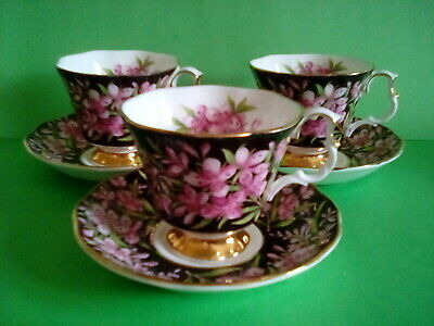 Three Royal Albert Provincial Flowers Bone China Cups & Saucers - Fireweed 1975 • 38£