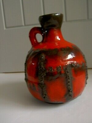 Ruscha West German Red Fat Lava Vase Jug 18cm High Otto Gerharz Mark Hill • 14.99£