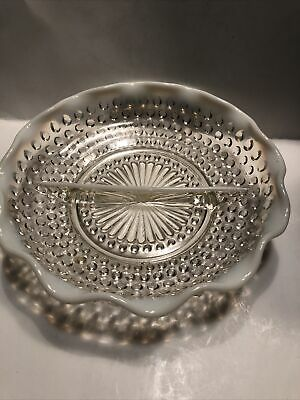 Vintage Hobnail Opalescent White Ruffle Edge, Round Divided Dish 7.5  • 18.29£