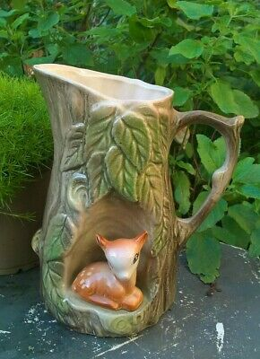 Withernsea Eastgate Vintage Pottery Fauna Jug With Deer Fawn • 8.99£