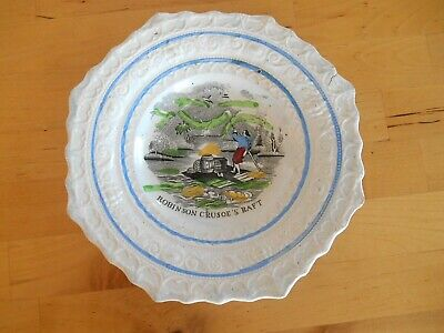 Antique STAFFORDSHIRE CHILDS PLATE  Robinson Crusoe Raft  - 7 1/2  Embossed • 7.36£