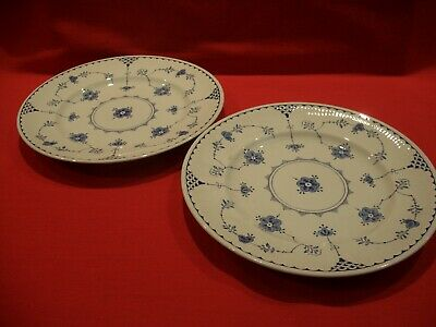2 X  Furnivals  ~~  Denmark  ~~ Blue 10  Dinner Plates Like Mason's • 34.99£