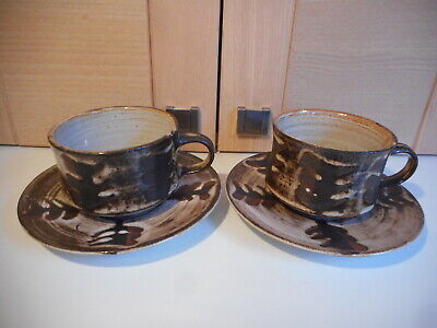 Briglin Studio Pottery Brown Fern Pattern 2 Cups And Saucers • 12.50£