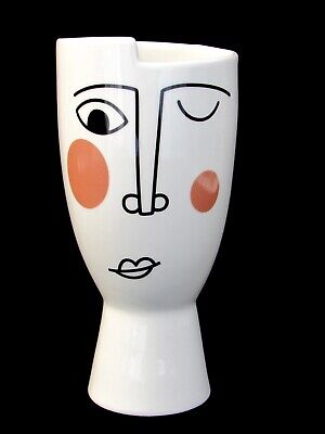 Striking Tribute To Picasso Italian Art Glazed Ceramic Abstract Face Vase • 42£
