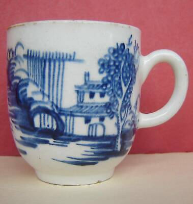 English Porcelain Coffee Cup Blue & White Bow? 18thc • 67£
