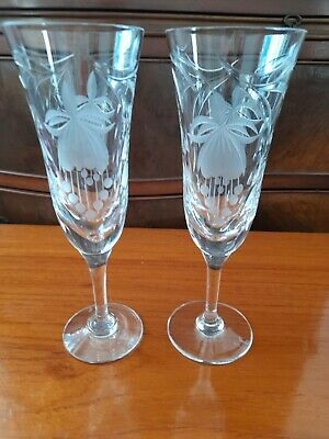 2 Royal Brierley Crystal Honeysuckle 8.25 Ins 21cms Champagne Wine Flutes • 45£