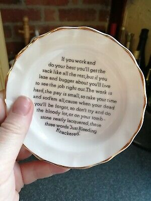 Fenton Bone China 11.5cm Trinket Dish Plate/ Pin Tray With Funny Message!  • 4£