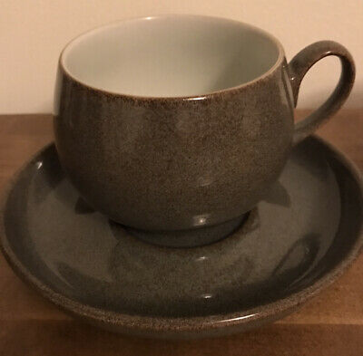 DENBY GREYSTONE 3 X TEA CUPS AND SAUCERS Excellent Condition • 9.50£