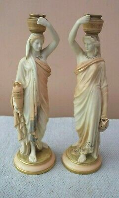 Rare Pair Of Royal Worcester Grecian Lady Water Carrier Blush Candlesticks 1894 • 150£