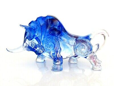 Superb Blue Art Glass Bull Sculpture From Private French Glass Collection • 4.99£