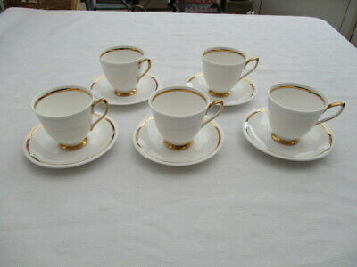Royal Albert 5 White With Gold Detail Coffee Cups & Saucers Very Good Condition • 9.99£