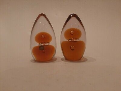 Wedgwood Glass Topaz/Clear Cone Shaped Topiary Paperweights RSW - 1960's/70's • 7£