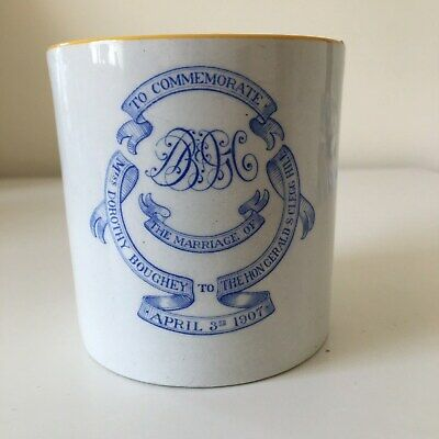 Royal Doulton Marriage Mug -Rt Hon Gerald Clegg Hill & Miss Dorothy Boughey 1907 • 25£