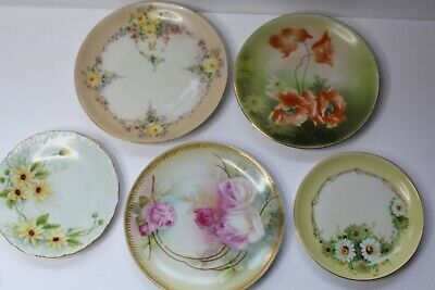 5 Vintage Hand Painted Porcelain Dishes Plates - Floral Bavaria Silesia Germany • 14.59£