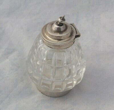 Antique Silver Plated Cut Glass Condiment Jar Pot Hinged Lid EPNS Base • 10£