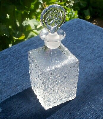 Vintage Whitefriars Clear Glass Whisky Decanter Glacier By Geoffrey Baxter • 50£