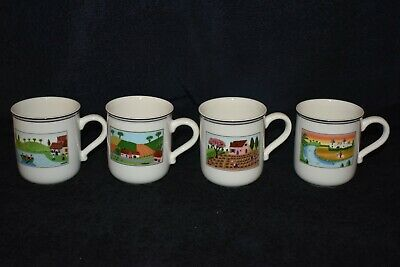 Villeroy & Boch Design Naif Country Scene Four Coffee Mugs • 31£