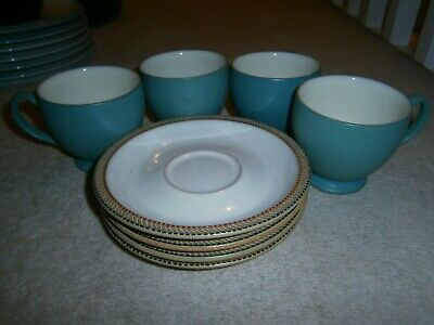 4 X Wonderful Denby Luxor Tea Cups & Saucers Excellent Barely Used Condition • 19.99£