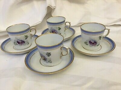 Royal Copenhagen Pattern # 592  Coffee Cups/ Cans & Saucers X 4 • 39.99£