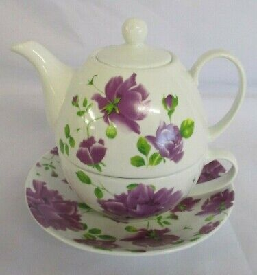 Tea For One Set, Cup, Saucer, Teapot, Ceramic, White With Purple Floral Pattern • 20£