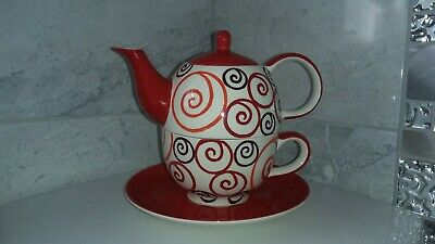 Whittard Tea For One Set Teapot Cup & Saucer  Set - White With Red Swirls Design • 9£
