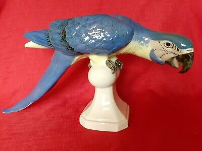 Stunning Vintage Large Sized Royal Dux Macaw Parrot On His Perch • 150£