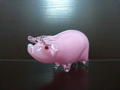Langham Glass Pink Piglet With Red Eyes-Paul Miller Signed-Free Postage. • 19.50£