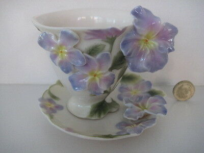 Superb Franz Porcelain  Pansy  Cabinet Cup And Saucer Fz00459 • 99.99£