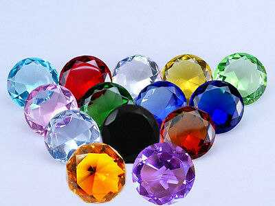 Crystal Diamond Shape Paperweight Glass Gem Display Ornament Wedding Boxed Gift  • 8.99£