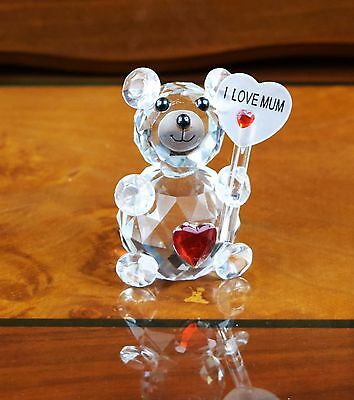Crystal Cut Clear Teddy Bear I Love You Mum Mom Gift For Birthday Mothers Day • 9.99£