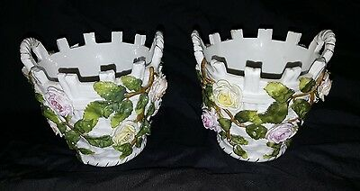Pair Of Late 19th Century Sitzendorf Flower Decorated Cache Pots /Planters • 140£