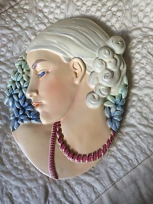 Rare  Beswick Art Deco Lady With Beads /  Hyacinth Lady Wall Hanging / Plaque • 250£