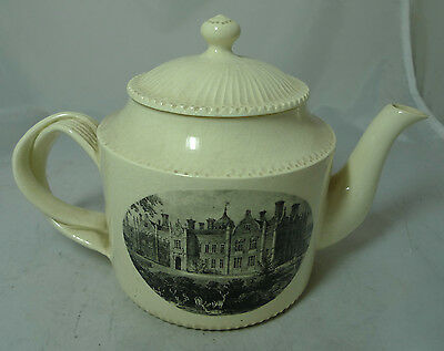 Antique Creamware Teapot Country House Scene Stamped CARTER A622017 • 120£