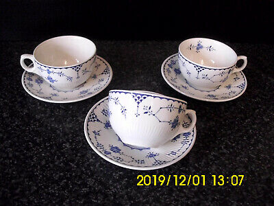 Furnivals Denmark Pattern Blue & White Cups & Saucers Quantity 3 • 25£