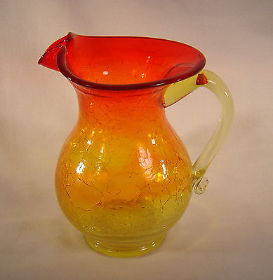 Large Amberina Crackle Glass ~ 6  Pitcher / Vase ~ Hand Blown - Flared Top • 10.11£