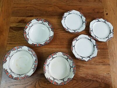 Art Deco Crown Ducal Ware England - Orange Tree Pattern - Mixed 6 Pieces • 39£