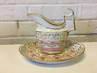 Antique Likely English Porcelain Creamer Dish & Underplate Pink Gold Decoration • 101.82£