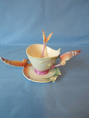 Franz Porcelain Butterfly Cup & Saucer & Spoon Model Number XP1693 By Jen Woo • 60£