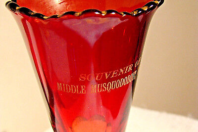 Vintage Ruby Red Parfait Glass, Souvenir Of Middle Musquodoboit, N.s. Canada • 17.16£